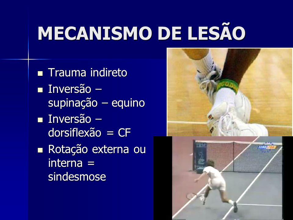 MECANISMO DE LESÃO  Trauma indireto  Inversão – supinação – equino  Inversão – dorsiflexão = CF  Rotação externa ou interna = sindesmose