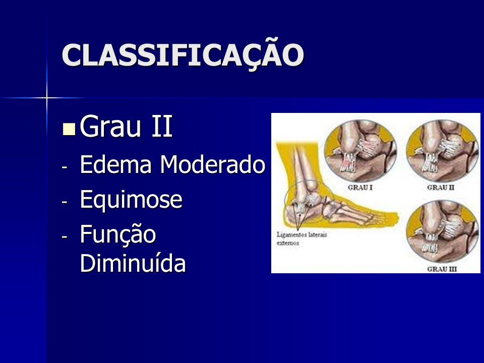 CLASSIFICAÇÃO  Grau II - Edema Moderado - Equimose - Função Diminuída