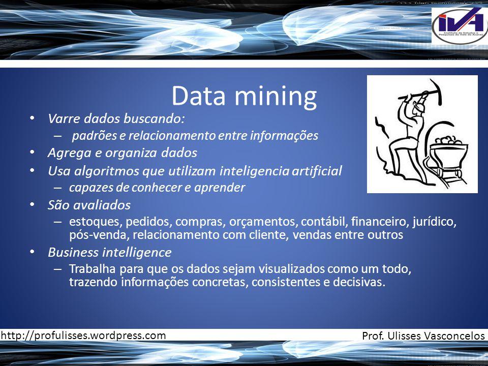 Data mining • Varre dados buscando: – padrões e relacionamento entre informações • Agrega e organiza dados • Usa algoritmos que utilizam inteligencia
