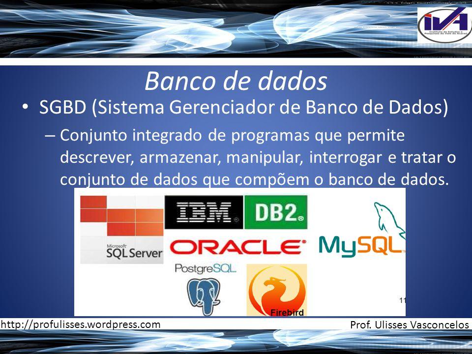 Banco de dados • SGBD (Sistema Gerenciador de Banco de Dados) – Conjunto integrado de programas que permite descrever, armazenar, manipular, interrogar e tratar o conjunto de dados que compõem o banco de dados.