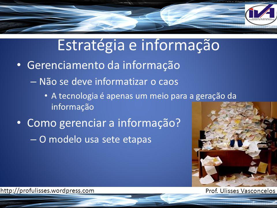 Estratégia e informação • Gerenciamento da informação – Não se deve informatizar o caos • A tecnologia é apenas um meio para a geração da informação •