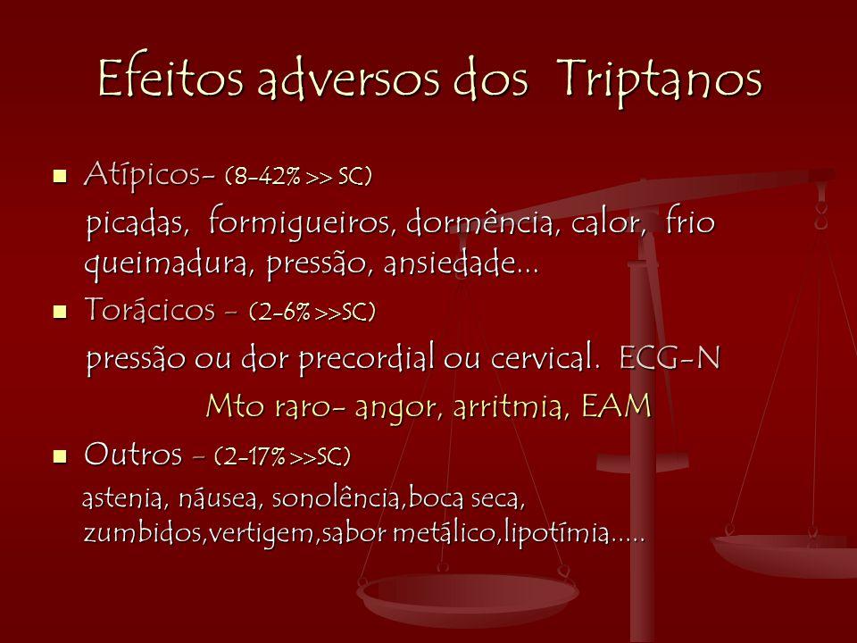 Efeitos adversos dos Triptanos  Atípicos- (8-42%  SC) picadas, formigueiros, dormência, calor, frio queimadura, pressão, ansiedade... picadas, form