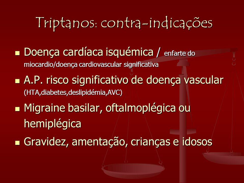 Triptanos : contra-indicações Triptanos : contra-indicações  Doença cardíaca isquémica / enfarte do miocardio/doença cardiovascular significativa  A