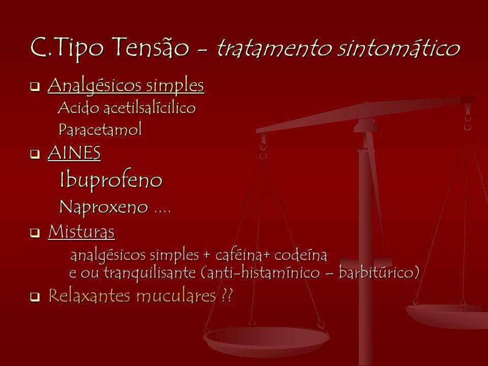 C.Tipo Tensão - tratamento sintomático  Analgésicos simples Acido acetilsalícilico Acido acetilsalícilico Paracetamol Paracetamol  AINES Ibuprofeno