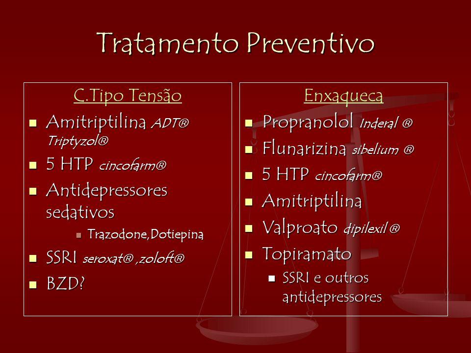 Tratamento Preventivo C.Tipo Tensão  Amitriptilina ADT  Triptyzol   5 HTP cincofarm   Antidepressores sedativos  Trazodone,Dotiepina  SSRI ser