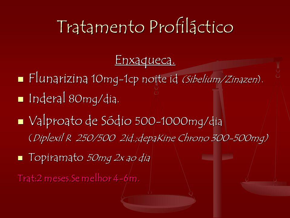 Tratamento Profiláctico Enxaqueca.  Flunarizina 10mg-1cp noite id (Sibelium/Zinazen).  Inderal 80mg/dia.  Valproato de Sódio 500-1000mg/dia (Diplex