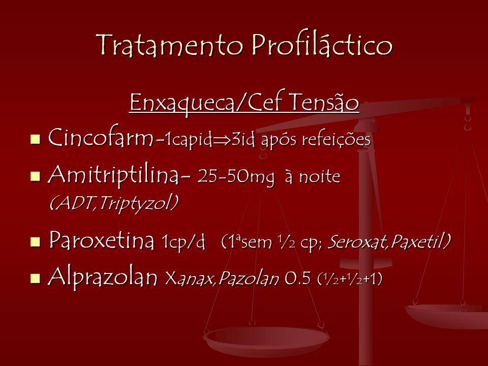 Tratamento Profiláctico Enxaqueca/Cef Tensão  Cincofarm - 1capid  3id após refeições  Amitriptilina- 25-50mg à noite (ADT,Triptyzol)  Paroxetina 1