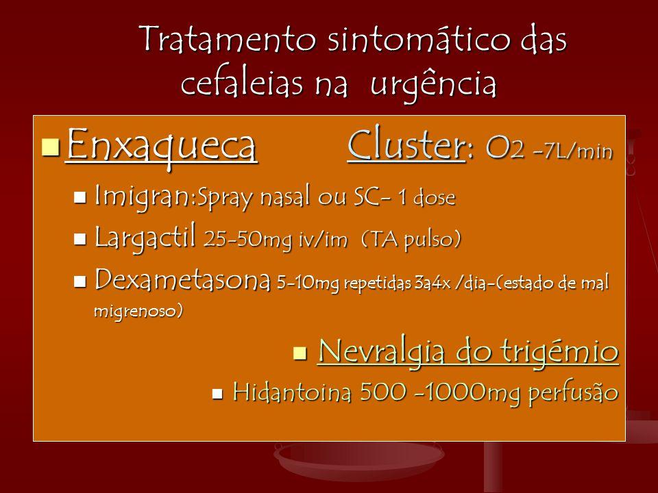 Tratamento sintomático das cefaleias na urgência Tratamento sintomático das cefaleias na urgência  Enxaqueca Cluster: O 2 - 7L/min  Imigran: Spray n