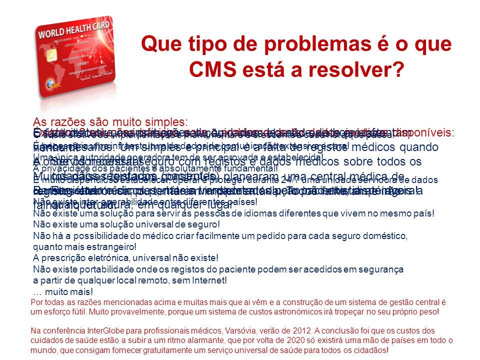 THE SYSTEM Que tipo de problemas é o que CMS está a resolver? Os pacientes e as instituições de cuidados de saúde de hoje enfrentam vários desafios. U