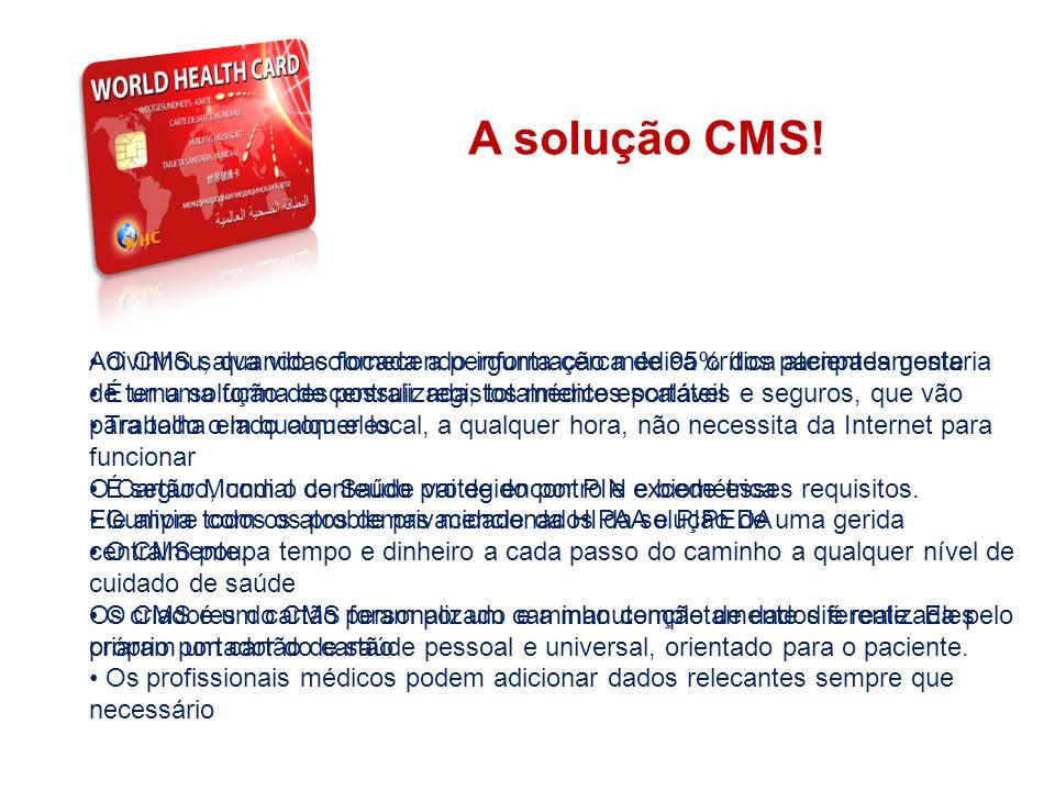 THE SYSTEM A solução CMS! Adivinhou, quando colocada a pergunta cerca de 95% dos pacientes gostaria de ter uma forma de possuir registos médicos portá