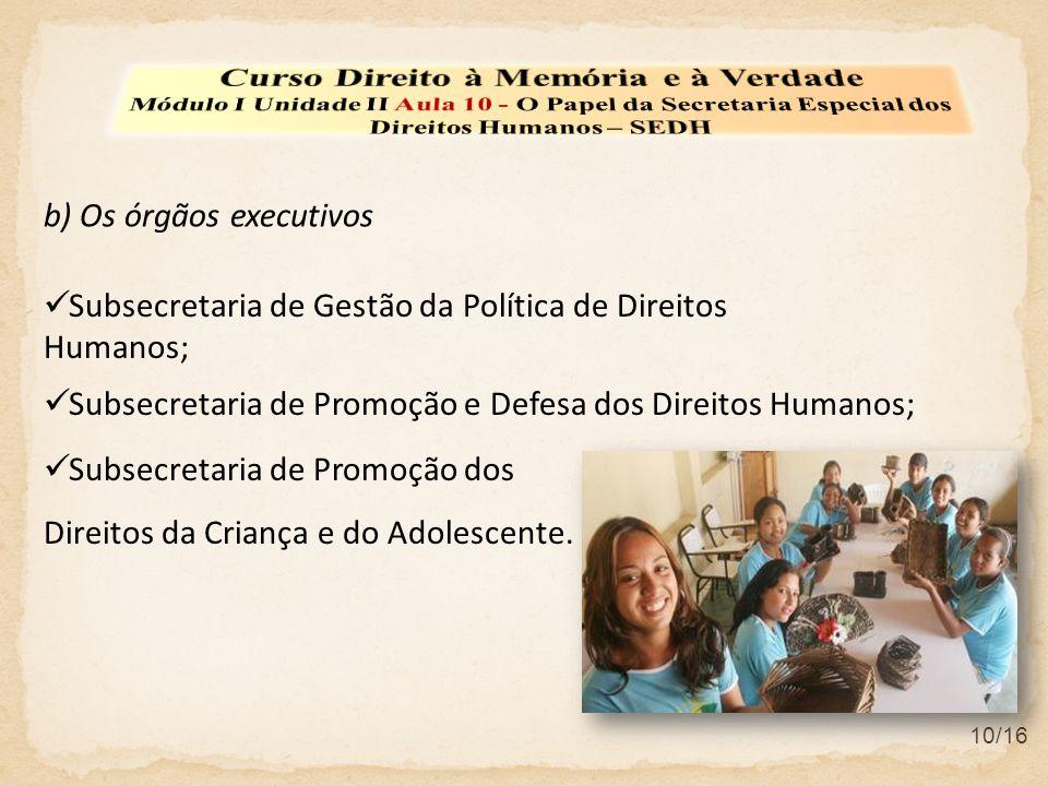 10/16  Subsecretaria de Gestão da Política de Direitos Humanos;  Subsecretaria de Promoção e Defesa dos Direitos Humanos;  Subsecretaria de Promoção dos Direitos da Criança e do Adolescente.
