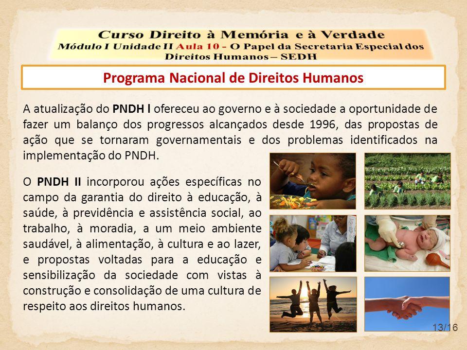 Programa Nacional de Direitos Humanos A atualização do PNDH l ofereceu ao governo e à sociedade a oportunidade de fazer um balanço dos progressos alca