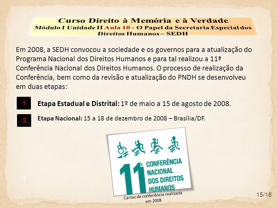 15/16 Em 2008, a SEDH convocou a sociedade e os governos para a atualização do Programa Nacional dos Direitos Humanos e para tal realizou a 11ª Conferência Nacional dos Direitos Humanos.