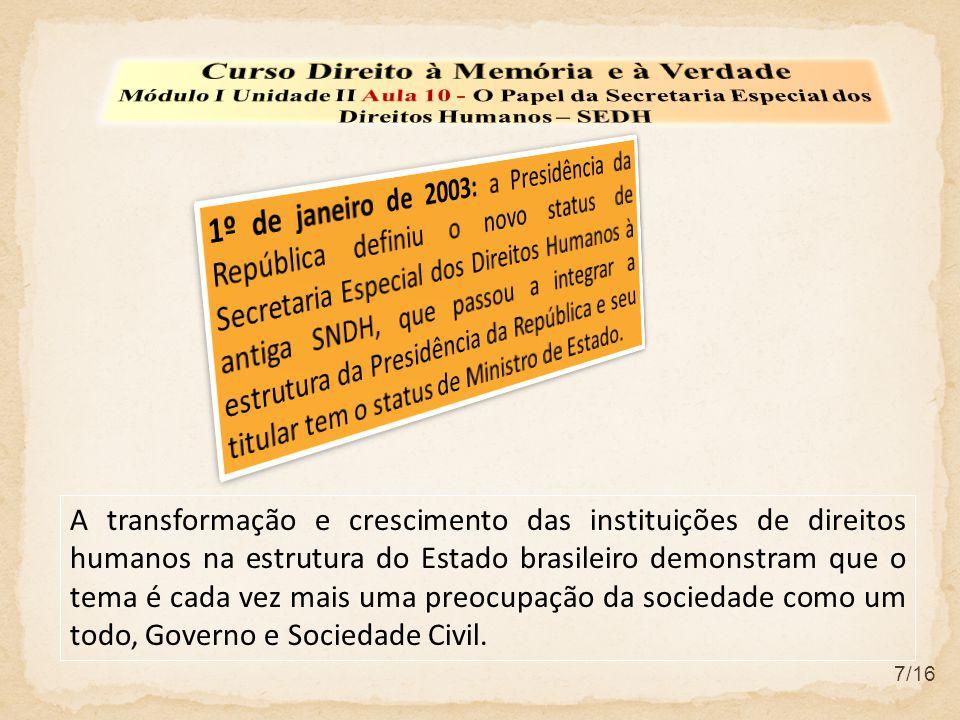 7/16 A transformação e crescimento das instituições de direitos humanos na estrutura do Estado brasileiro demonstram que o tema é cada vez mais uma preocupação da sociedade como um todo, Governo e Sociedade Civil.
