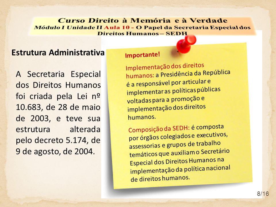 9/16 a)Os órgãos colegiados  Conselho de Defesa dos Direitos da Pessoa Humana – CDDPH;  Conselho Nacional dos Direitos da Criança e do Adolescente – CONANDA;  Conselho Nacional de Combate à Discriminação – CNCD;  Conselho Nacional dos Direitos da Pessoa Portadora de Deficiência – CONADE;  Conselho Nacional dos Direitos do Idoso – CNDI;  Comissão Nacional de Erradicação do Trabalho Escravo – CONATRAE;  Comitê Gestor Nacional do Plano Social Registro Civil de Nascimento e Documentação Básica.