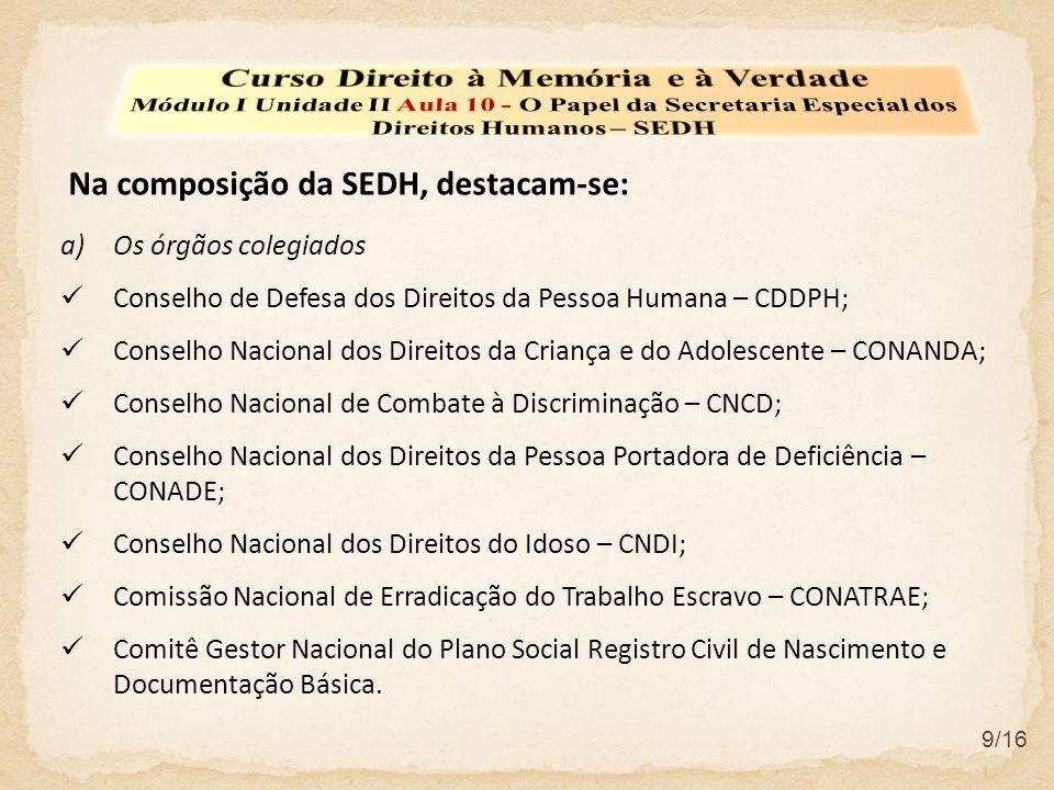 9/16 a)Os órgãos colegiados  Conselho de Defesa dos Direitos da Pessoa Humana – CDDPH;  Conselho Nacional dos Direitos da Criança e do Adolescente –