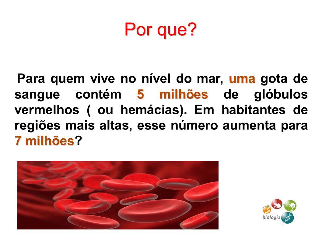 Por que? uma 5 milhões 7 milhões Para quem vive no nível do mar, uma gota de sangue contém 5 milhões de glóbulos vermelhos ( ou hemácias). Em habitant