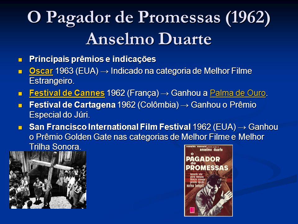 O Pagador de Promessas (1962) Anselmo Duarte  Principais prêmios e indicações  Oscar 1963 (EUA) → Indicado na categoria de Melhor Filme Estrangeiro.