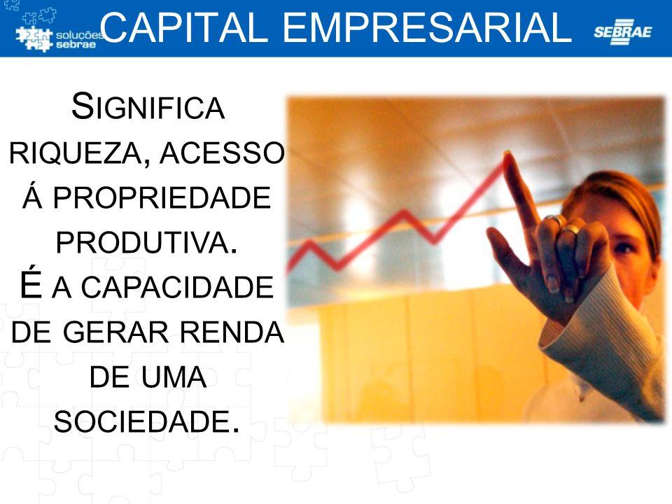 S IGNIFICA RIQUEZA, ACESSO Á PROPRIEDADE PRODUTIVA. É A CAPACIDADE DE GERAR RENDA DE UMA SOCIEDADE. CAPITAL EMPRESARIAL