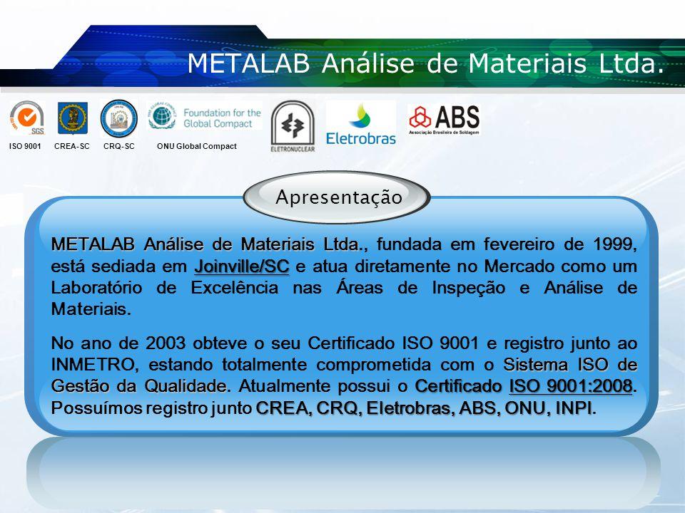 METALAB Análise de Materiais Ltda. Apresentação METALAB Análise de Materiais Ltda Joinville/SC METALAB Análise de Materiais Ltda., fundada em fevereir