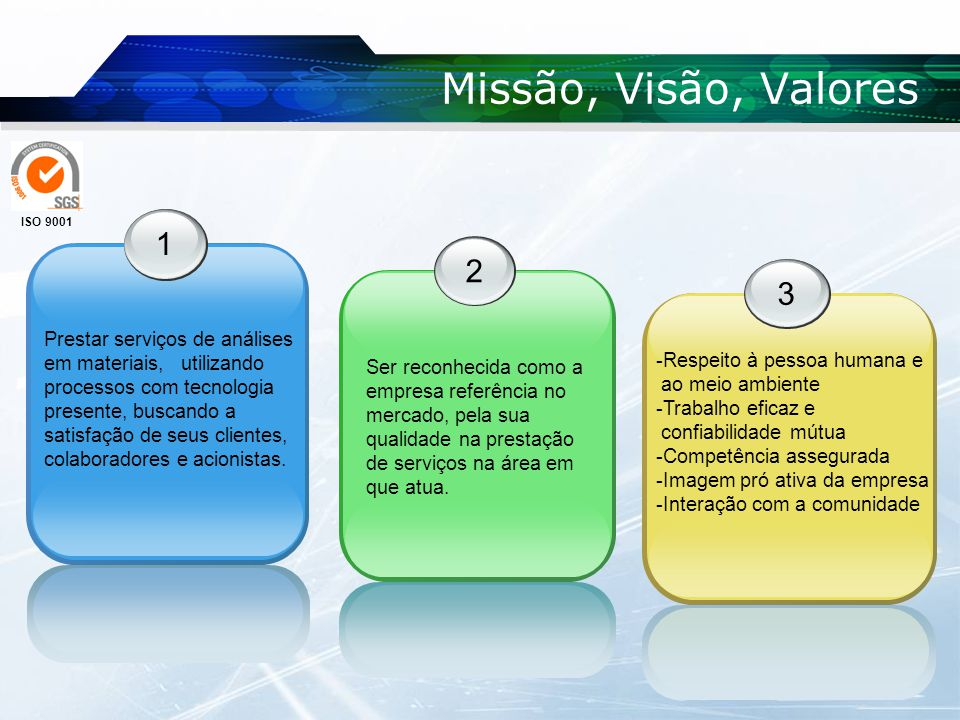 Missão, Visão, Valores 1 23 Prestar serviços de análises em materiais, utilizando processos com tecnologia presente, buscando a satisfação de seus clientes, colaboradores e acionistas.