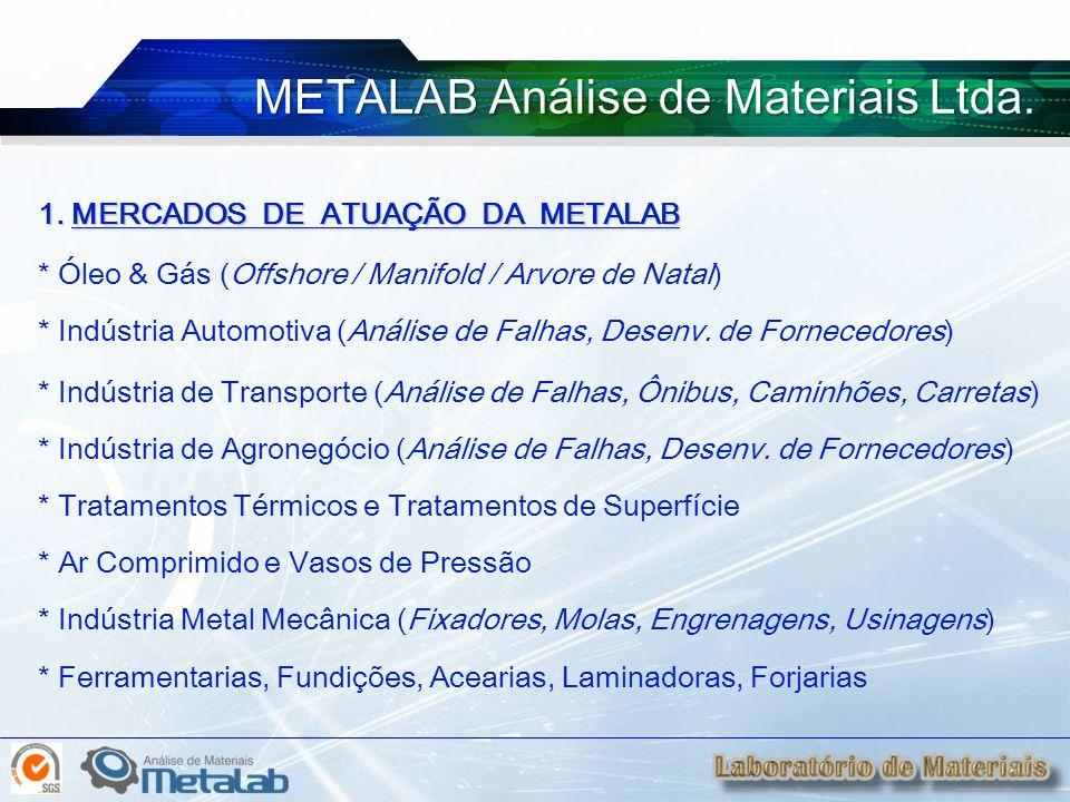 1. MERCADOS DE ATUAÇÃO DA METALAB * Óleo & Gás (Offshore / Manifold / Arvore de Natal) * Indústria Automotiva (Análise de Falhas, Desenv. de Fornecedo