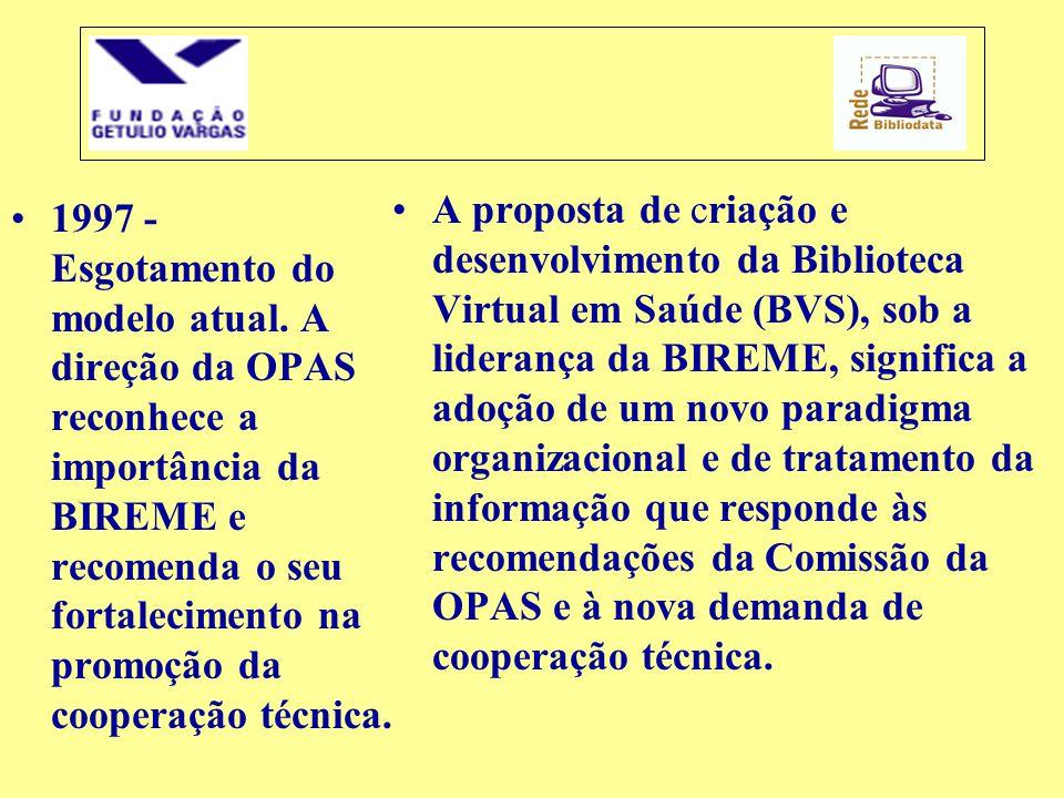 •1997 - Esgotamento do modelo atual. A direção da OPAS reconhece a importância da BIREME e recomenda o seu fortalecimento na promoção da cooperação té