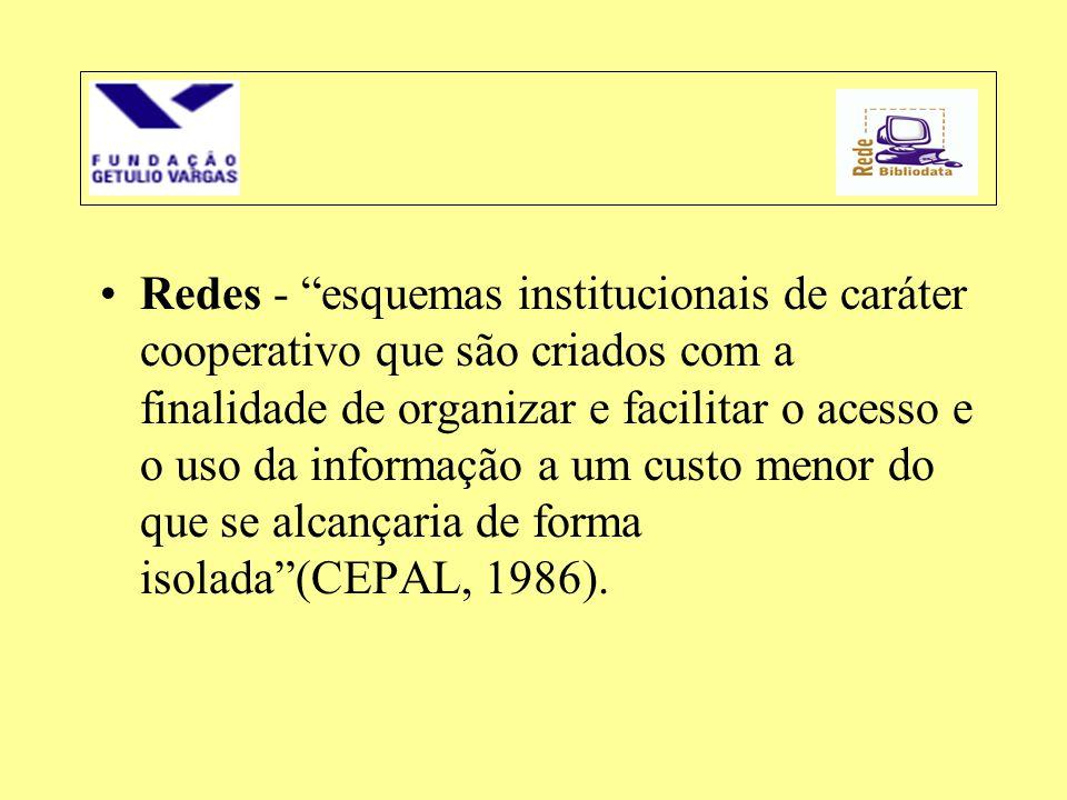 """•Redes - """"esquemas institucionais de caráter cooperativo que são criados com a finalidade de organizar e facilitar o acesso e o uso da informação a um"""