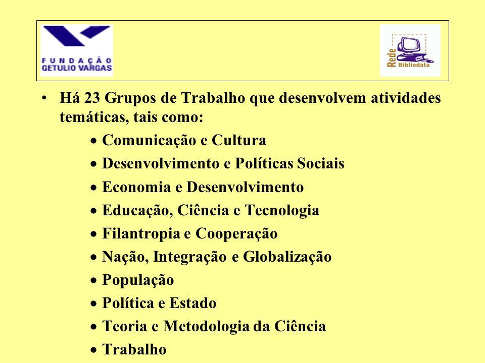 •Há 23 Grupos de Trabalho que desenvolvem atividades temáticas, tais como:  Comunicação e Cultura  Desenvolvimento e Políticas Sociais  Economia e