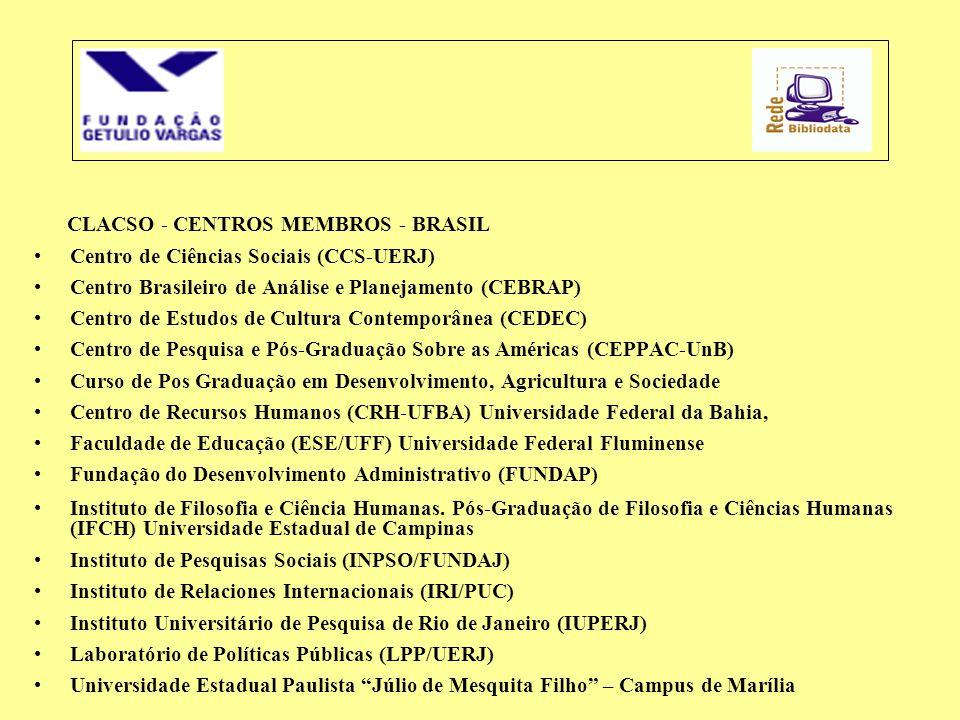 CLACSO - CENTROS MEMBROS - BRASIL •Centro de Ciências Sociais (CCS-UERJ) •Centro Brasileiro de Análise e Planejamento (CEBRAP) •Centro de Estudos de C