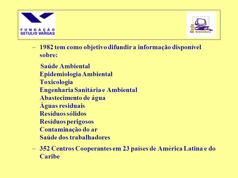 –1982 tem como objetivo difundir a informação disponível sobre: Saúde Ambiental Epidemiologia Ambiental Toxicologia Engenharia Sanitária e Ambiental A
