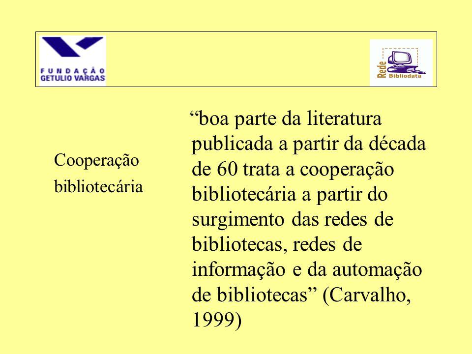 """Cooperação bibliotecária """"boa parte da literatura publicada a partir da década de 60 trata a cooperação bibliotecária a partir do surgimento das redes"""