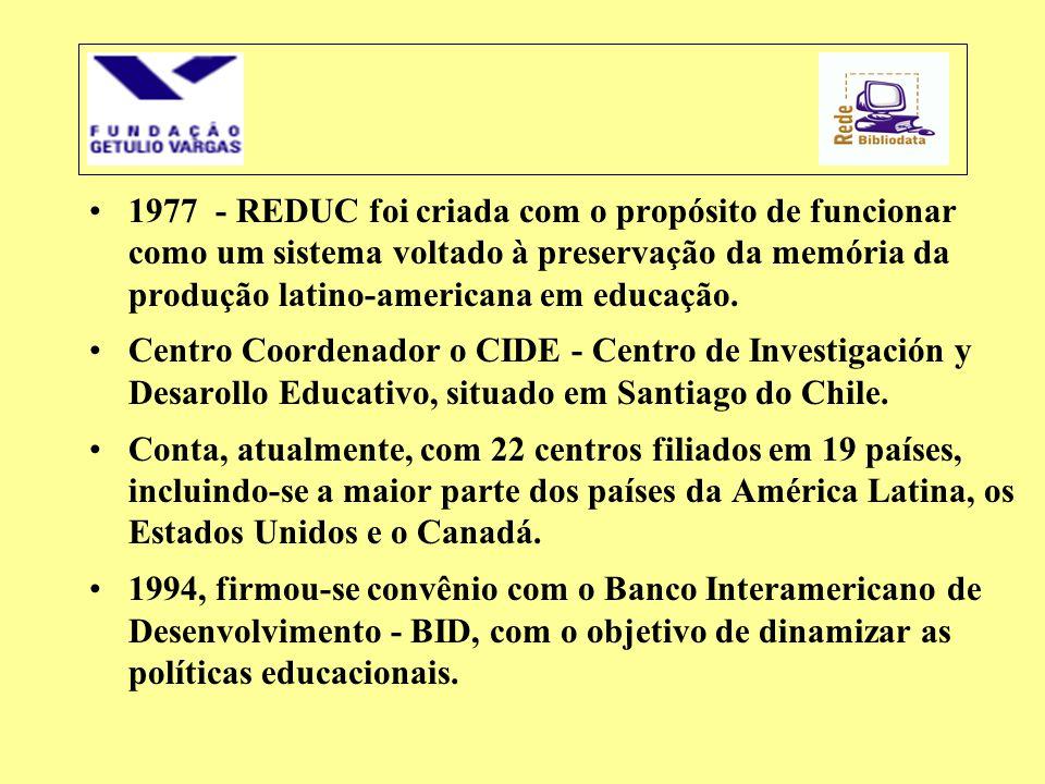 •1977 - REDUC foi criada com o propósito de funcionar como um sistema voltado à preservação da memória da produção latino-americana em educação. •Cent