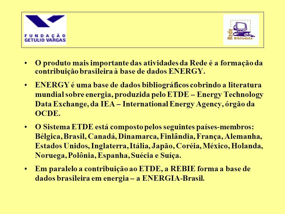 •O produto mais importante das atividades da Rede é a formação da contribuição brasileira à base de dados ENERGY. •ENERGY é uma base de dados bibliogr