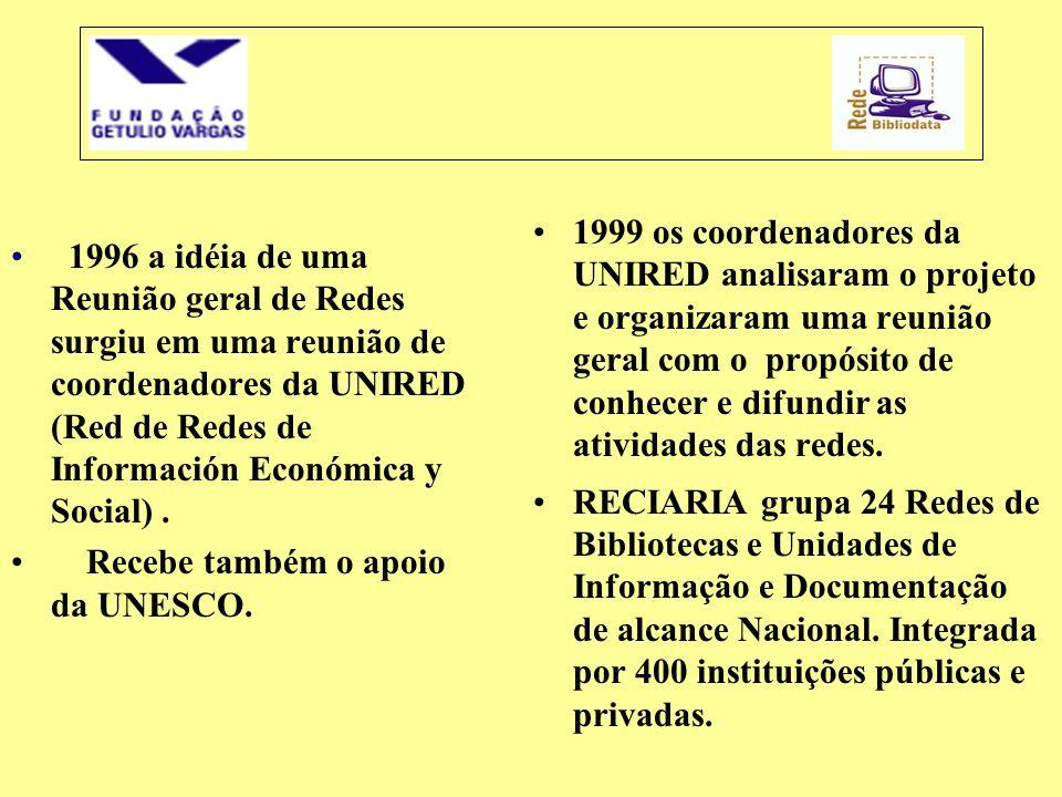 • 1996 a idéia de uma Reunião geral de Redes surgiu em uma reunião de coordenadores da UNIRED (Red de Redes de Información Económica y Social). • Rece