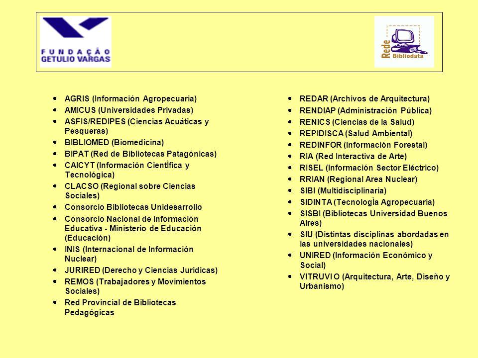  AGRIS (Información Agropecuaria)  AMICUS (Universidades Privadas)  ASFIS/REDIPES (Ciencias Acuáticas y Pesqueras)  BIBLIOMED (Biomedicina)  BIPA