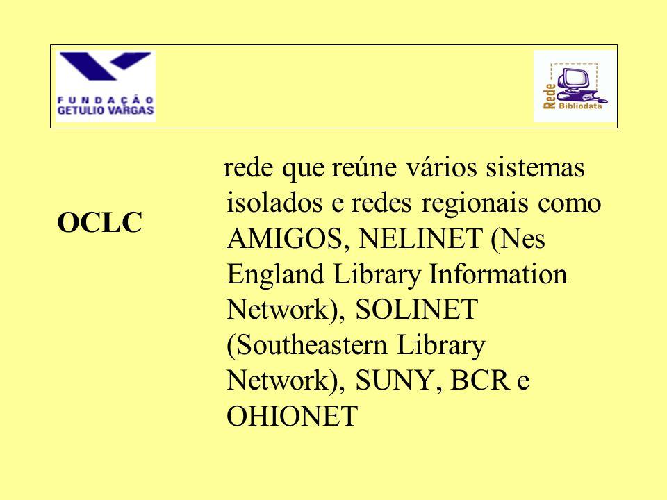 OCLC rede que reúne vários sistemas isolados e redes regionais como AMIGOS, NELINET (Nes England Library Information Network), SOLINET (Southeastern L