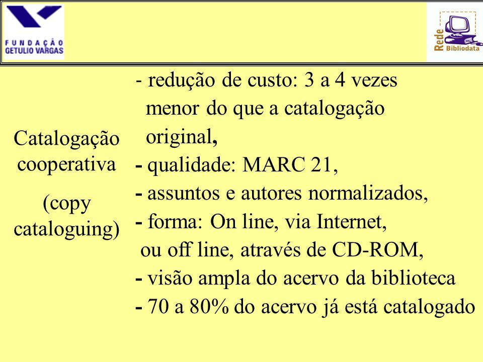 - redução de custo: 3 a 4 vezes menor do que a catalogação original, - qualidade: MARC 21, - assuntos e autores normalizados, - forma: On line, via In