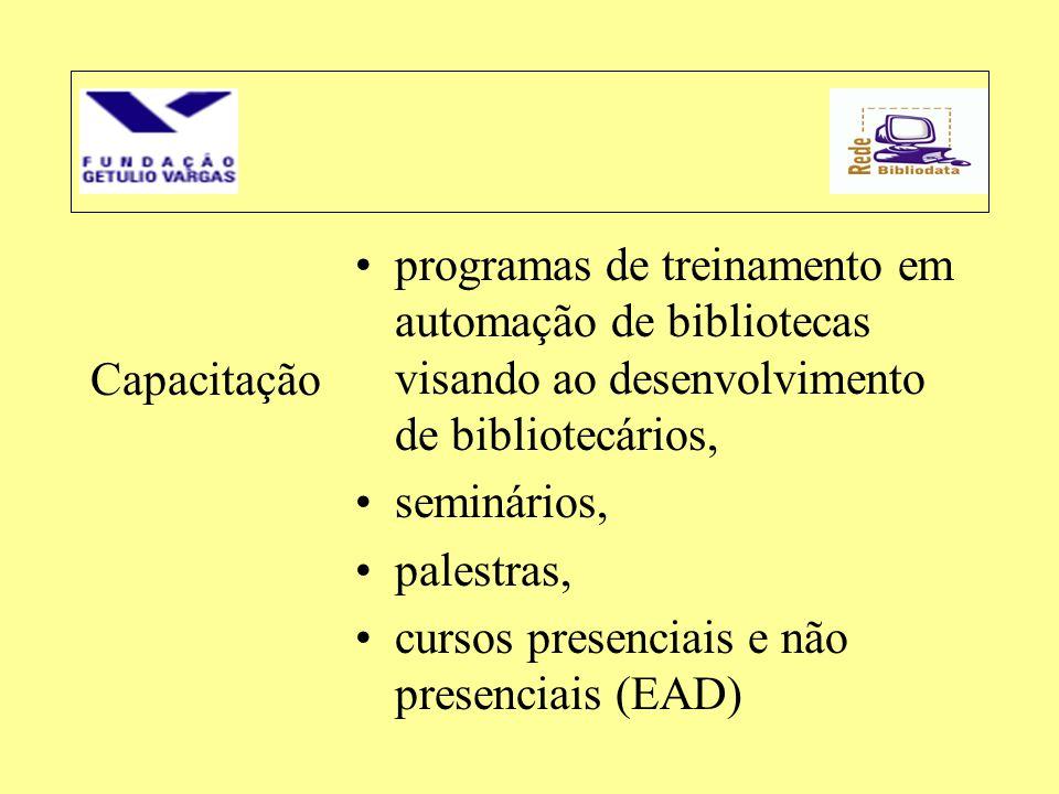 Capacitação •programas de treinamento em automação de bibliotecas visando ao desenvolvimento de bibliotecários, •seminários, •palestras, •cursos prese