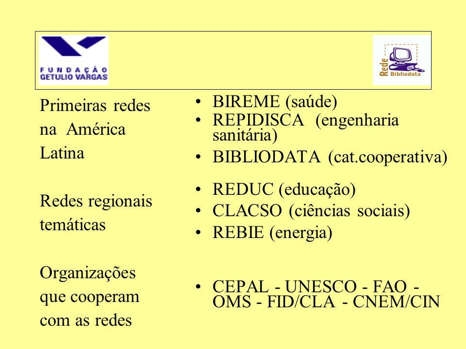 Primeiras redes na América Latina Redes regionais temáticas Organizações que cooperam com as redes •BIREME (saúde) •REPIDISCA (engenharia sanitária) •