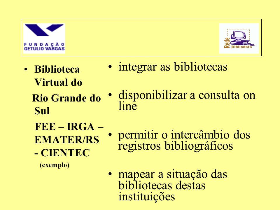 •Biblioteca Virtual do Rio Grande do Sul FEE – IRGA – EMATER/RS - CIENTEC (exemplo) •integrar as bibliotecas •disponibilizar a consulta on line •permi