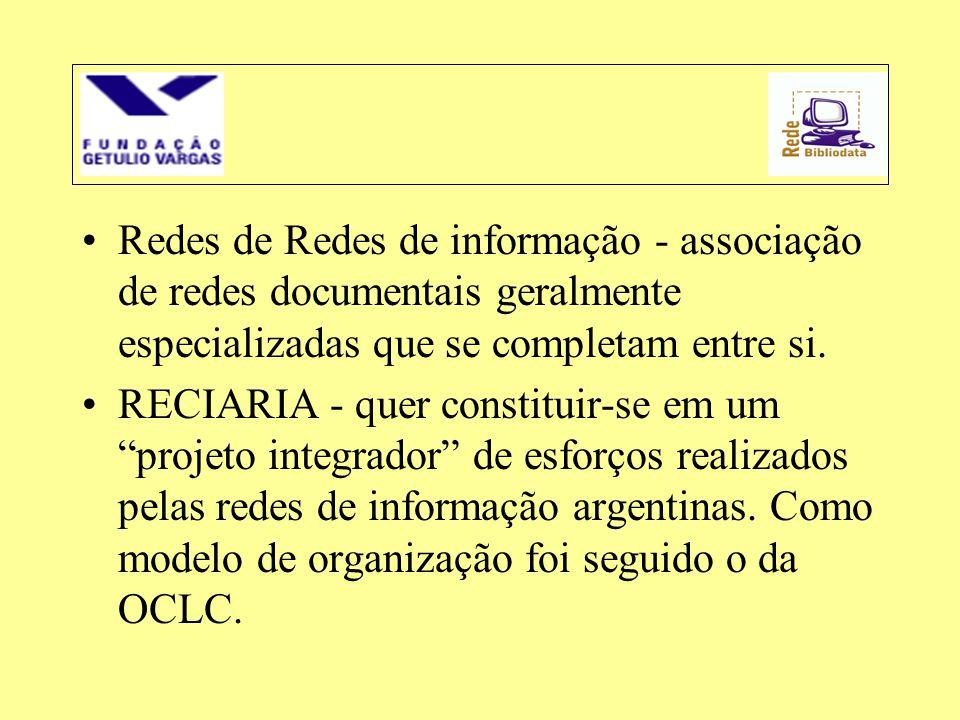 •Redes de Redes de informação - associação de redes documentais geralmente especializadas que se completam entre si. •RECIARIA - quer constituir-se em