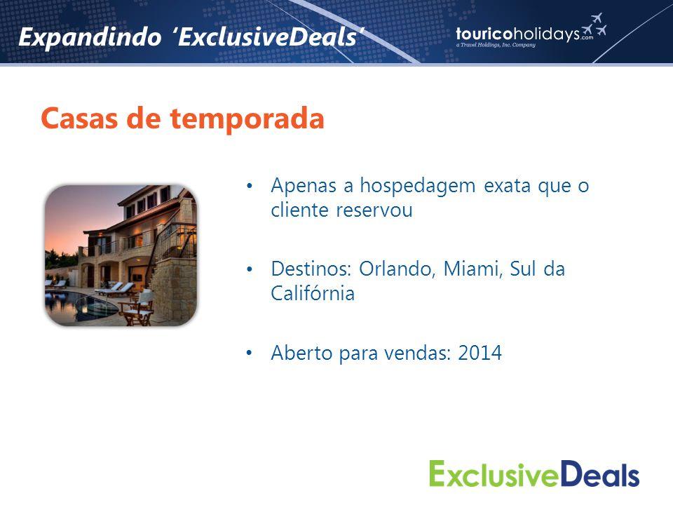 Expandindo 'ExclusiveDeals' Casas de temporada •Apenas a hospedagem exata que o cliente reservou •Destinos: Orlando, Miami, Sul da Califórnia • Aberto para vendas: 2014