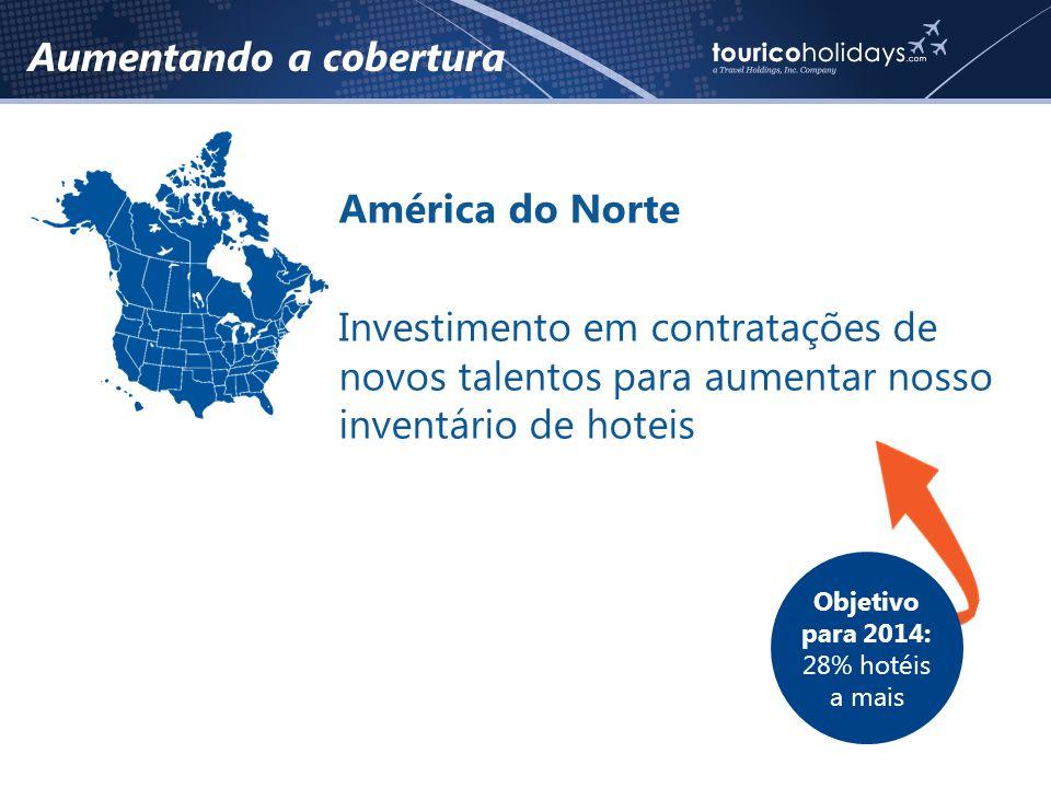 Aumentando a cobertura América do Norte Investimento em contratações de novos talentos para aumentar nosso inventário de hoteis Objetivo para 2014: 28% hotéis a mais