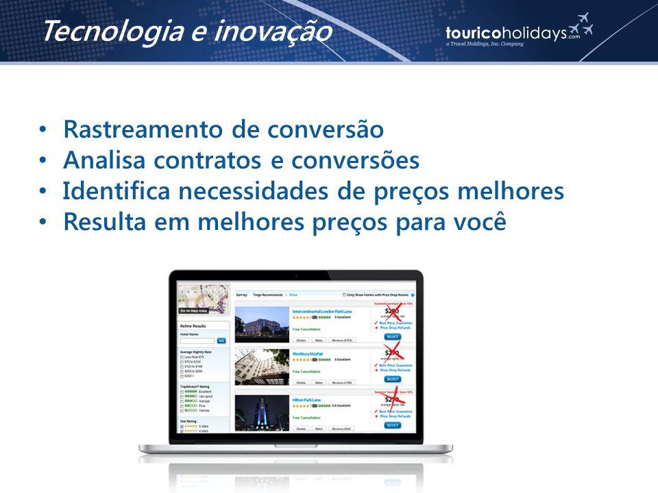 • Rastreamento de conversão • Analisa contratos e conversões • Identifica necessidades de preços melhores • Resulta em melhores preços para você Tecnologia e inovação