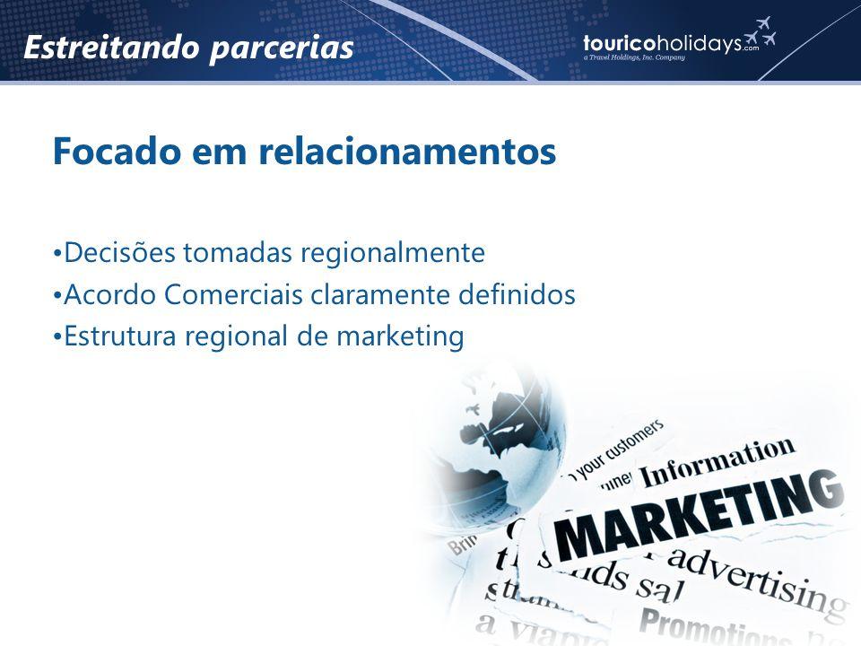 Estreitando parcerias Focado em relacionamentos •Decisões tomadas regionalmente •Acordo Comerciais claramente definidos •Estrutura regional de marketing