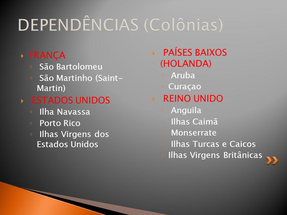 DEPENDÊNCIAS (Colônias)  FRANÇA ◦ São Bartolomeu ◦ São Martinho (Saint- Martin)  ESTADOS UNIDOS ◦ Ilha Navassa ◦ Porto Rico ◦ Ilhas Virgens dos Esta