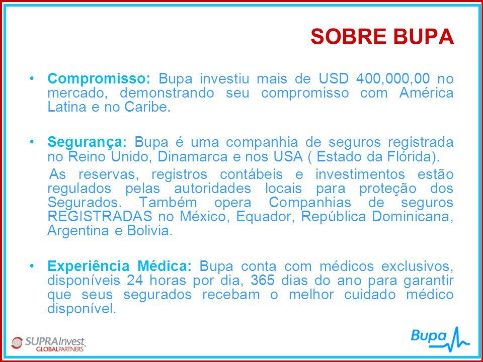 SOBRE BUPA •Compromisso: Bupa investiu mais de USD 400,000,00 no mercado, demonstrando seu compromisso com América Latina e no Caribe. •Segurança: Bup