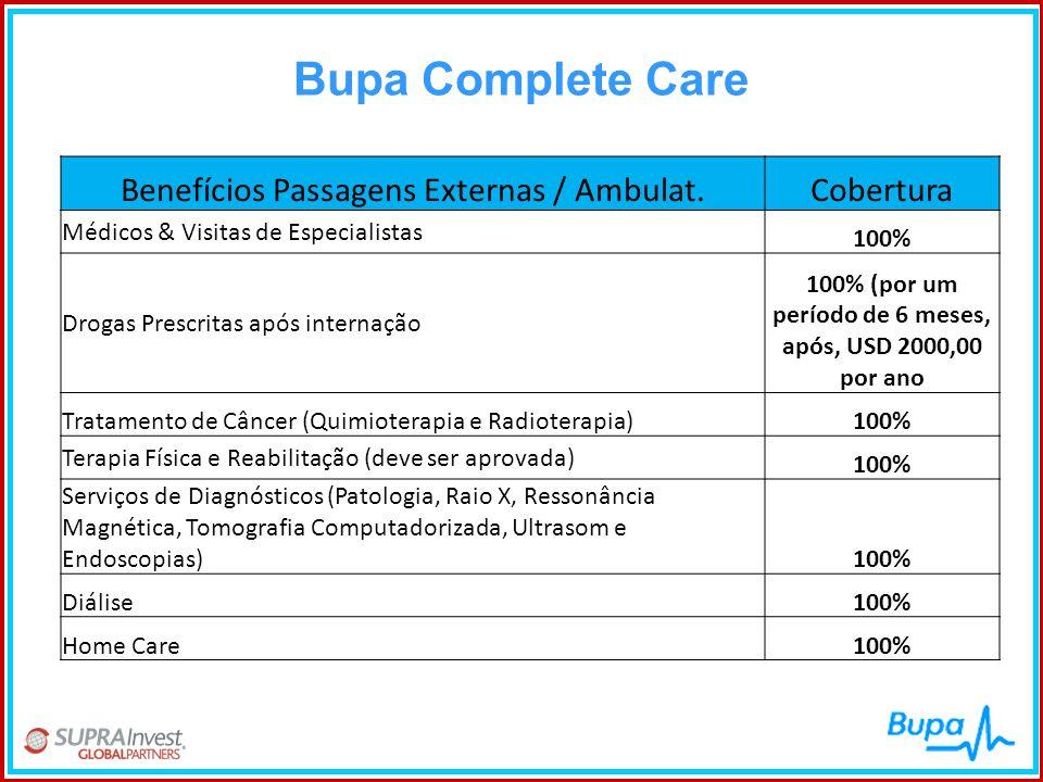 Bupa Complete Care Benefícios Passagens Externas / Ambulat.Cobertura Médicos & Visitas de Especialistas 100% Drogas Prescritas após internação 100% (p