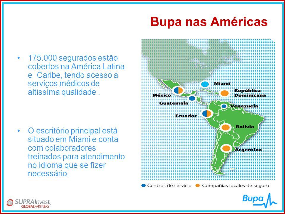 Bupa nas Américas •175.000 segurados estão cobertos na América Latina e Caribe, tendo acesso a serviços médicos de altissíma qualidade. •O escritório